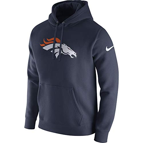 Nike Men's Denver Broncos Pullover Fleece Club Hoodie College Navy/White Size Small ()