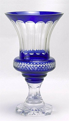 AA Importing Footed Glass Vase in Clear & Cobalt - Cobalt Vase Footed