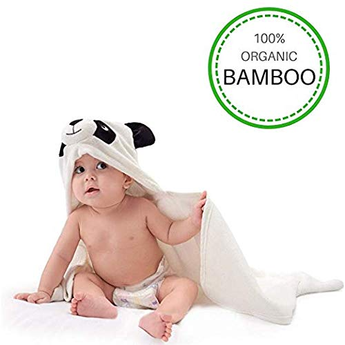 Organic Bamboo Hooded Baby Towel, Soft and Absorbent, Large 35 X 35 inch | Antibacterial and Hypoallergenic Baby Bath Towel, Fantastic 3D Panda Design | Great Baby Shower Gift for Boys or Girls LilGoo