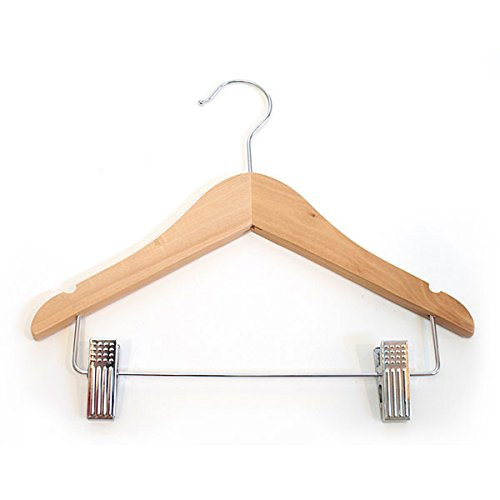 Kids Hanger With Clips Clothes Display Store Fixture 11'' Natural Lot of 100 NEW