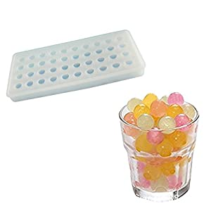 niceEshop(TM) 40 Ice Cube Trays, Silicon Ice Mold Tray Candy Chocolate Silicone Molds Mini Ice Ball Maker Party Maker,Round,White
