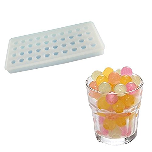 niceEshop(TM) 40 Ice Cube Trays, Silicon Ice Mold Tray Candy Chocolate Silicone Molds Mini Ice Ball Maker Party Maker,Round,White ()