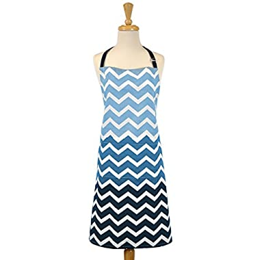 DII 100% Cotton, Trendy Chevron Ombre Chef Kitchen Apron, Adjustable Neck & Waist Ties, Machine Washable, Front Pocket, Perfect for Cooking, Baking, Barbequing, & More - Nautical Blue