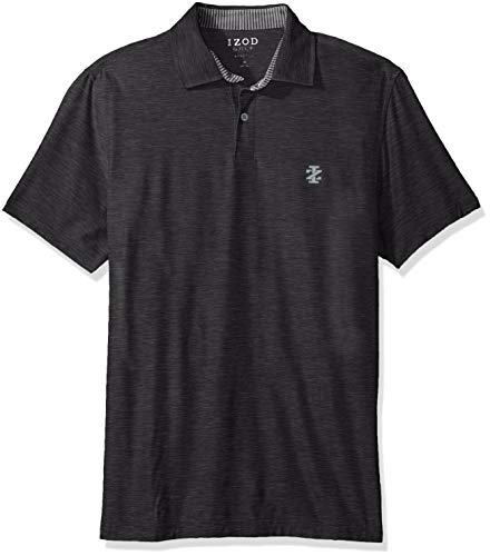(IZOD Men's Golf Title Holder Short Sleeve Polo, Asphalt, Large)