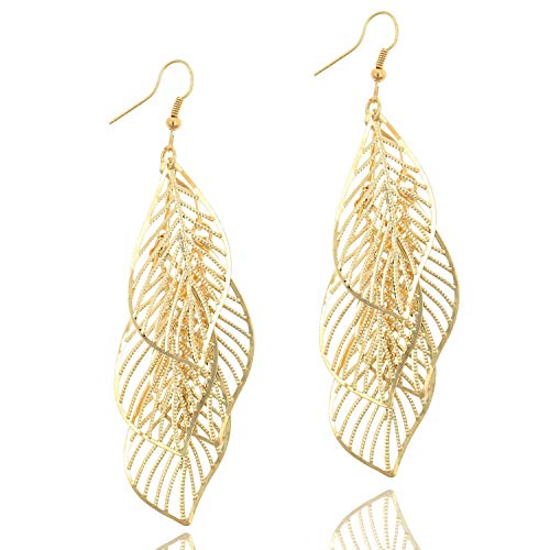 Leaf Cluster Pendant Earring Fashion Drop Dangle Earrings with 2 Different Colors for Women Girls