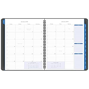 "Day-Timer Monthly Business Planner, January 2018 - December 2018, 8-1/2"" x 11"", Notebook Size, Essentials, Blue (45225-1801)"