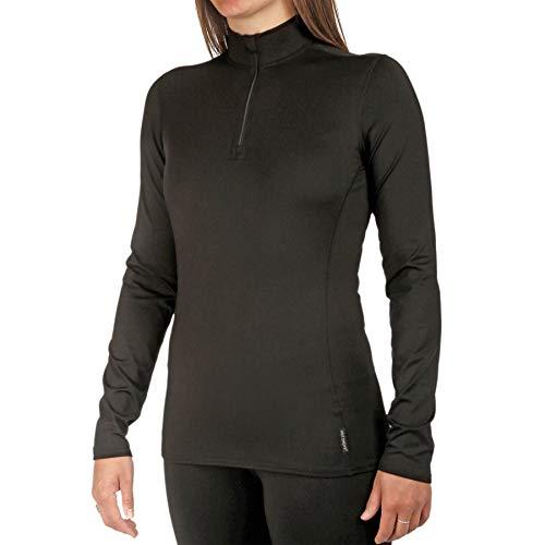 Hot Chillys Women's Chamois Zip-Tee (Black, Medium)