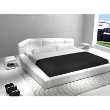 J&M Furniture Dream Upholstered Platform Bed in White Leather - King