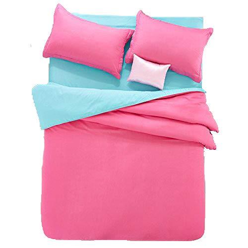 "(Nova Bed SET 4pcs Children Cotton Bedding Set Plain Solid Candy Color Flat Sheet Double Color Blocking Design Full Size 70""x 86"" Red Blue Color Kids Adults Teens Sheet Sets (Full, Rose Red& Blue))"
