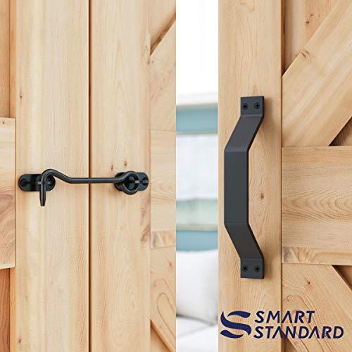 10 FT Heavy Duty Double Gate Sliding Barn Door Hardware Kit, 10ft Double Rail, Black, (Whole Set Includes 2x Pull Handle Set & 2x Floor Guide & 1x Latch Lock) Fit 30'' Wide Door Panel (I Shape Hangers) by SMARTSTANDARD (Image #3)