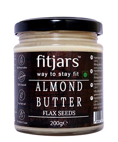 FITJARSAll Natural Almond Butter (Badam) with Flax Seeds, Stone Ground Keto Diet Vegan Butters -200 GM