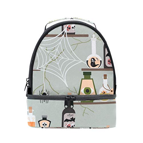 Lunch Box Halloween Poison Bottle Double Deck Insulated Bag Cooler Bag