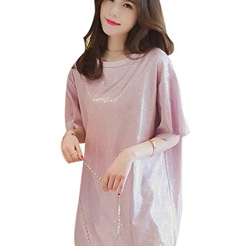 (Women Girls Glitter Sequins T-Shirt Short Sleeve Loose Top Tee Casual Party Blouse Tops Pink)