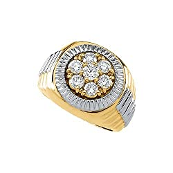 14k Yellow and White Gold Two-Tone Men's Diamond Ring (1.45 Cttw, GH Color, I1 Clarity)