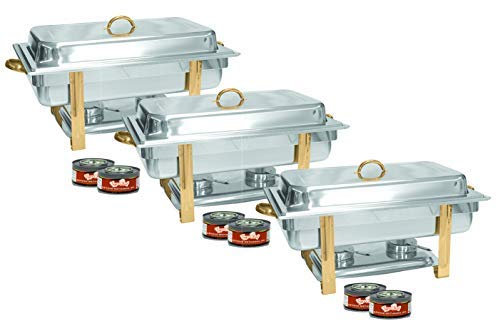 Tiger Chef 3-Pack 8 Quart Full Size Buffet Chafing Dish Set with Gold Accents and Gel Fuel Cans