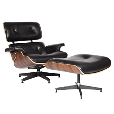 Superieur Amazon.com: MCM Eames Style Lounge Chair With Ottoman Stool (Black)   High  Quality Aniline Leather And Palisander Plywood   HS021BL12: Kitchen U0026 Dining