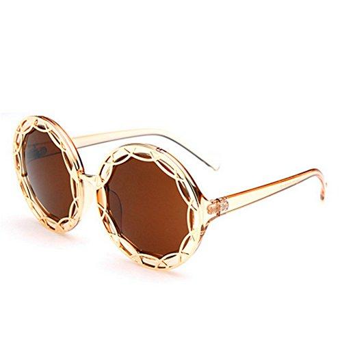 MosierBizne Hollow Metal Sunglasses Fashion Big Round Frame Sunglasses Ms Repair - Nyc Repair Eyeglass Frame