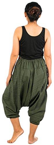 Lofbaz Mujer Pantalones que caen en la entrepierna de harén hmong de algodón Diseño # 5 Verde Oscuro