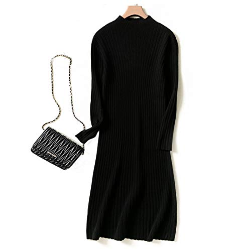 Cashmere Manica color Con S Lungo Lunga Da Di In Haxibkena Black Maglioncino Maglia Collo Donna Size A E HqxPpR