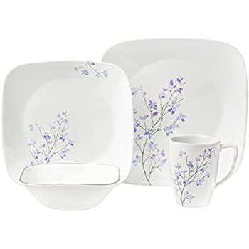 Corelle Square 16-Piece Dinnerware Set Jacaranda Service for 4  sc 1 st  Amazon.com & Amazon.com: Corelle Square 16-Piece Dinnerware Set Jacaranda ...