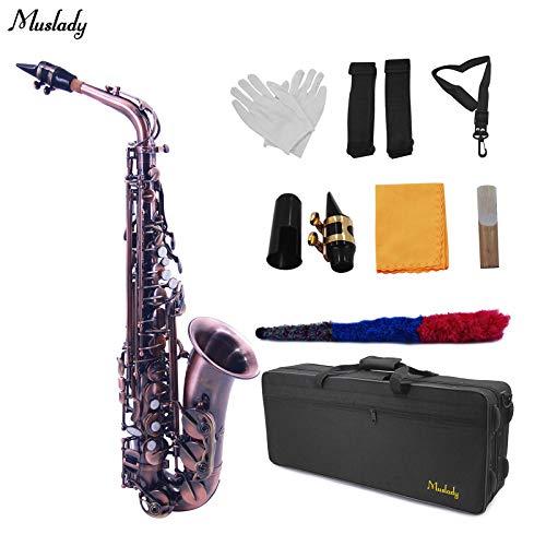 Irfora EB Saxofón Alto Sax Vintage Red 802 Tipo de Llave Instrumento de Viento de Madera con Estuche de Transporte Reed…