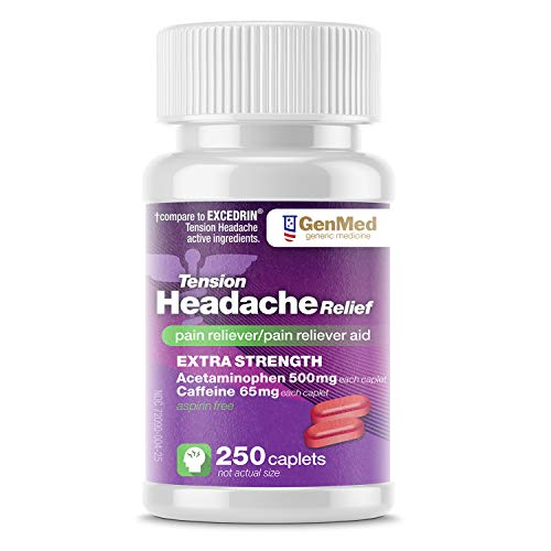 Genmed Tension Headache Relief, 250Count, (Compare to Excedrin Extra Strength Pain & Headache Relief) (Best Pain Reliever For Tension Headache)