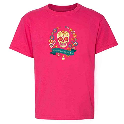 Dia de Los Muertos Sugar Skull Halloween Horror Pink 2T Toddler Kids T-Shirt]()
