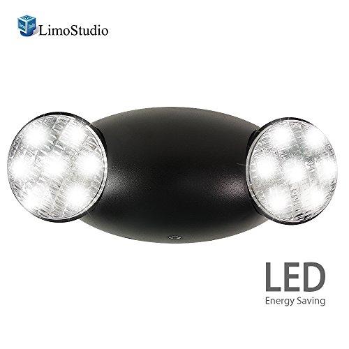 Black Emergency Lights (eTopLighting Emergency Exit Light Standard LED Bug Eye Head LED Spot Light, Black Body Color, 2 Side Lights, Test Button, AGG2214)