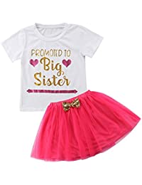 3c41c6ed3a1b Toddler Kids Baby Girls Promoted to Big Sister T Shirt Tops+Tulle Tutu  Bowknot Skirt