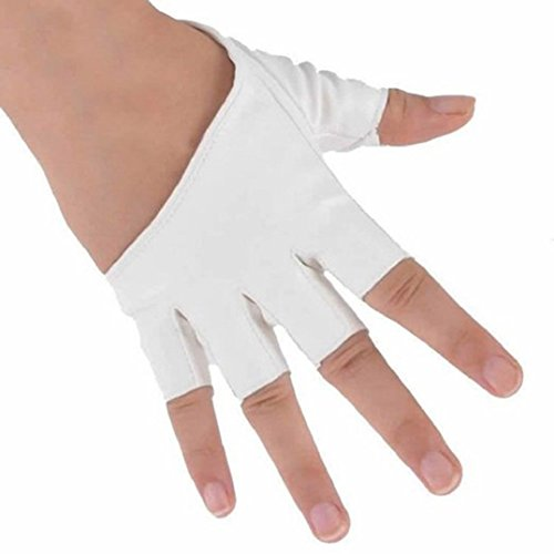 Half Pole (Haresle 1 Pair Women Half Palm Gloves Fingerless Gloves for Pole Dancing Driving (White))