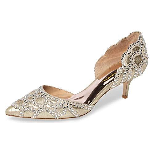 XYD Women D'Orsay Wedding Pumps Pointed Toe Low Kitten Heels Slip On Rhinestones Bridal Shoes Size 8 Gold (Bridal Silk Shoes)