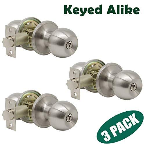 Probrico Satin Nickel Finish One Keyway Door Knobs Hardware Entry with Key Handles Keyed Alike Door Lockset, 3 Pack, Keyed Hardware by Probrico (Image #8)
