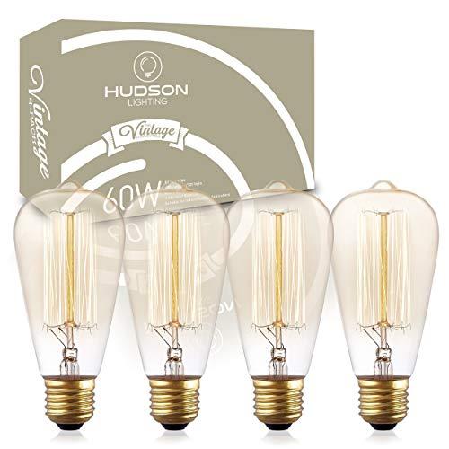 (Vintage Incandescent Edison Light Bulbs: 60 Watt, 2100K Warm White Lightbulbs - E26 Base - 230 Lumens - Clear Glass - Dimmable Antique Filament ST64 Light Bulb Set - 4 Pack)
