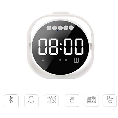 HWUKONG Alarm Clock Radio, Mirror Alarm Clock Portable Smart Wireless Bluetooth Speaker Card MP3 with Wheat Call Mobile Desktop Mini Speaker,Gray