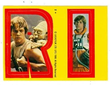 - Star Wars Empire Strikes Back card #2 Topps Sticker 1980 RI Luke Skywalker Yoda Mark Hamill
