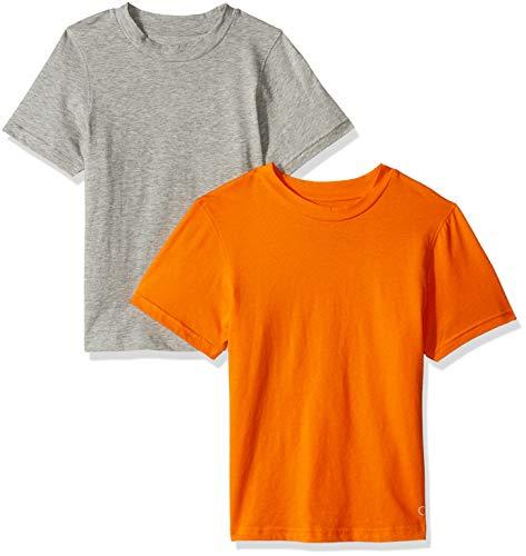 T-shirts Orioles - Calvin Klein Boys' Little 2 Pack Crewneck T-Shirts, Oriole, Heather Grey, Large-12/14
