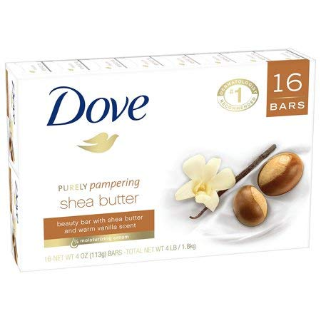 Dove Shea Butter Bar Soap, 3.5 oz Each, 16 Bars