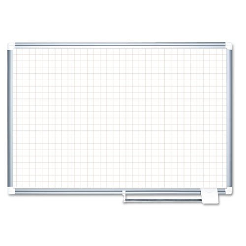 MasterVision MA0547830 Planning Board, 1'' Grid, 48x36, White/Silver by Bi-silque