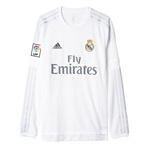Long Sleeve Replica Jersey - adidas Soccer Replica Jersey: adidas Real Madrid Long Sleeve Home Replica Soccer Jersey 15/16 L