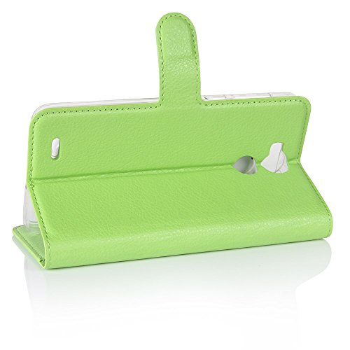 Lusee® PU Caso de cuero sintético Funda para Blackview R6 5.5 Pulgada Cubierta con funda de silicona azul verde