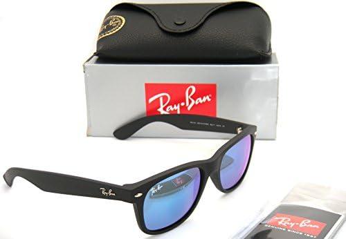 e2707226b56 Ray-Ban New Wayfarer RB 2132 622 17 55mm Rubber Black   Blue Mirror New in  Box