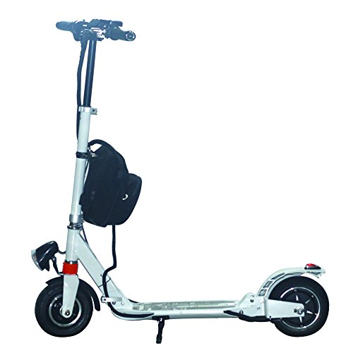 AGDA®350W White Adult City Push Kick Scooter With Large Wheel,Dual Front and Rear Spring Comfort Suspension.Easy to Carry Light Weight Aluminium Kickboard.
