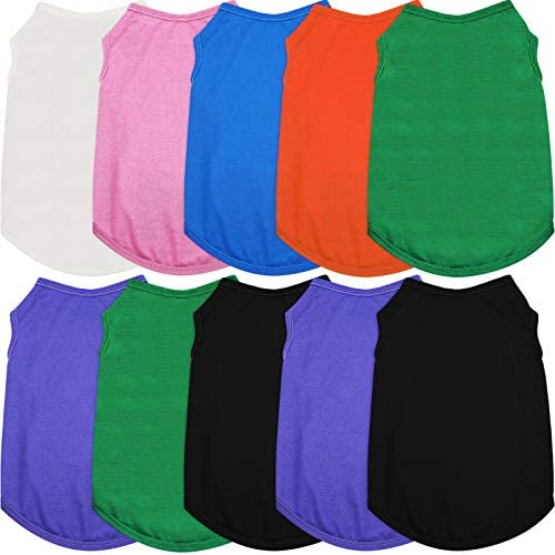 10 Pieces Dog Pure Color Shirts Breathable Puppy Vest Pet Dog T-Shirt Pet Cute Vest Dog Shirts Apparel for Pet Dog, for Christmas New Year (M)