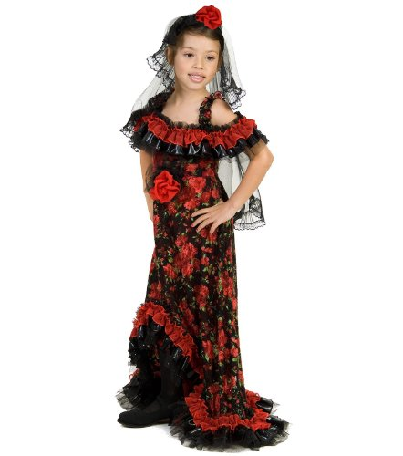 Big Girls' Red Rose Spanish Dancer Costume Medium (7-8) by Princess Paradise