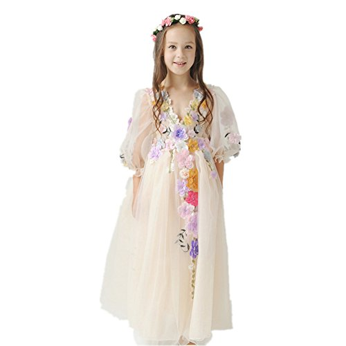 89f8a72db KICCOLY Girls Princess Dress for 11 Years Old Floral Lace Wedding Dresses  Flower Girls Dresses by