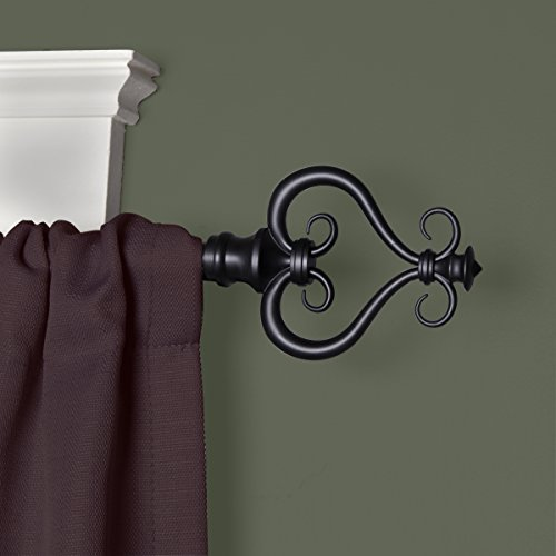 Kenney Serena Window Curtain Rod, 48 to 84-Inch, Black