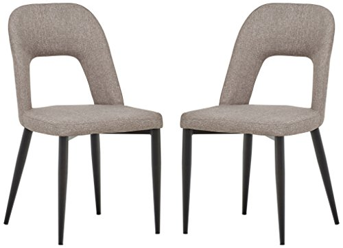 Rivet Florence Mid-Century Wide Open-Back Accent Dining Chairs – 18.8″W, Grey, 2-Pack