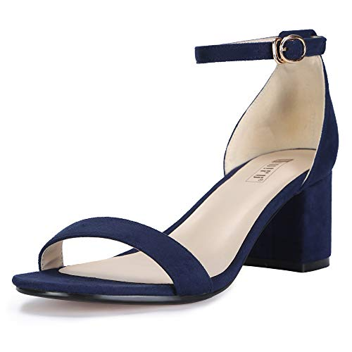 IDIFU Women's IN2 Cookie-LO Low Heel Ankle Strap Dress Pump Sandal (Blue Suede, 9.5 B(M) US)]()