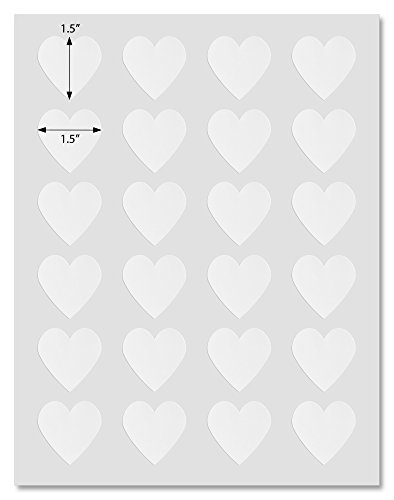 Waterproof White Matte Heart Shaped Labels, 1.5 x 1.5 inches, for Laser Printers with Downloadable Template and Printing Instructions, 5 Sheets, 120 Labels (KL15) ()