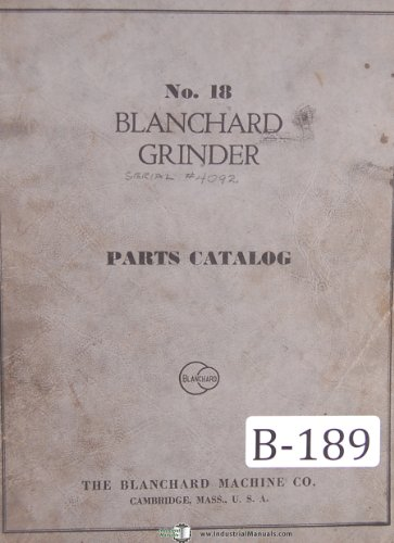 Blanchard No. 18 Vertical Surface Grinder Parts List ()